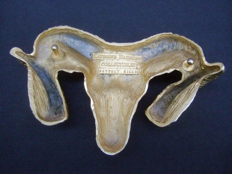 Massive Gilt Metal Rams Head Belt Buckle by Katherine Baumann Beverly Hills 1990 For Sale 4