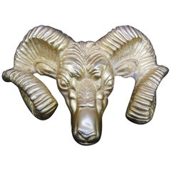 Massive Gilt Metal Rams Head Belt Buckle by Katherine Baumann Beverly Hills 1990