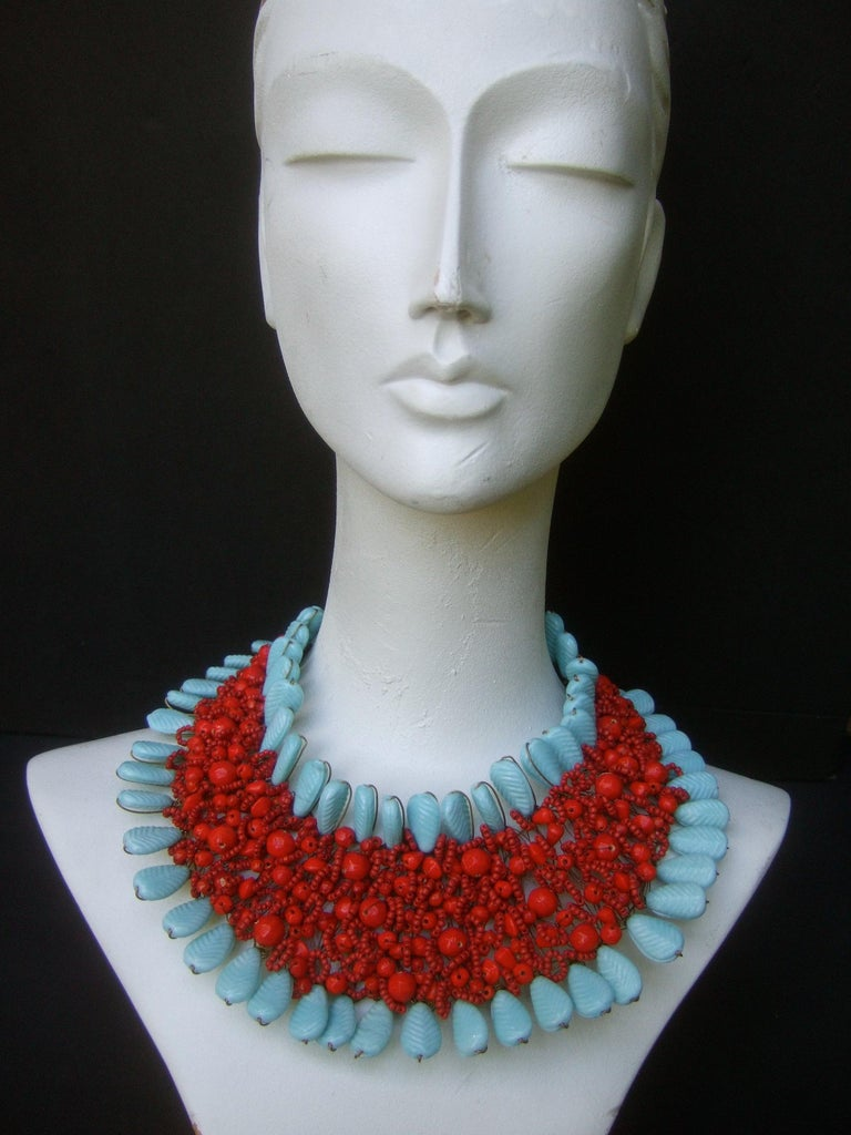 Massive Glass Beaded Handmade Artisan Choker Bib Necklace 21st c  In Good Condition For Sale In Santa Barbara, CA