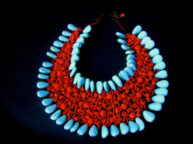 Massive Glass Beaded Handmade Artisan Choker Bib Necklace 21st c  For Sale 1