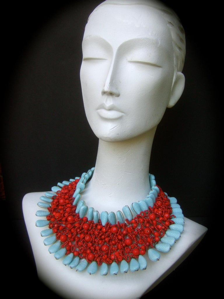 Massive Glass Beaded Handmade Artisan Choker Bib Necklace 21st c  For Sale 2