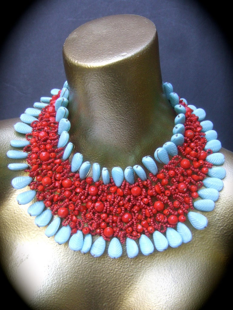 Massive Glass Beaded Handmade Artisan Choker Bib Necklace 21st c  For Sale 3