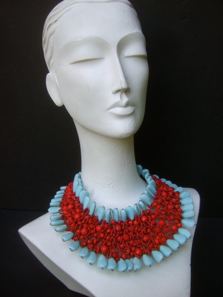 Massive Glass Beaded Handmade Artisan Choker Bib Necklace 21st c  For Sale 5
