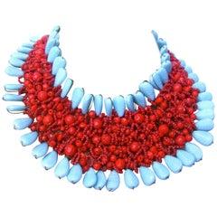 Massive Glass Beaded Handmade Artisan Choker Bib Necklace 21st c