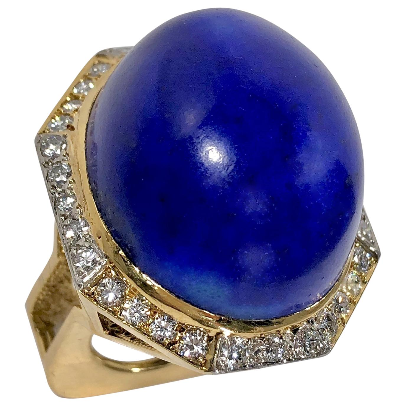 Massive Gold Cocktail Ring with 86 Carat Lapis-Lazuli Cabochon and Diamonds