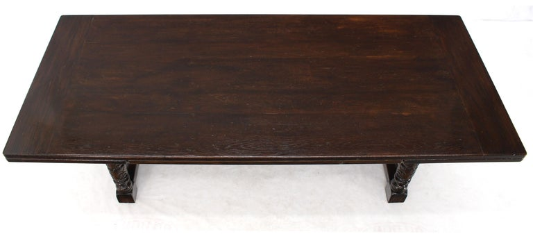 Massive Gothic Solid Dark Oak Expandable Farm Table Two Leafs Fine Carving For Sale 4
