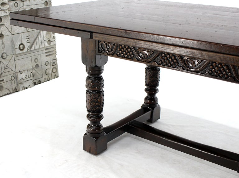 Massive Gothic Solid Dark Oak Expandable Farm Table Two Leafs Fine Carving For Sale 6