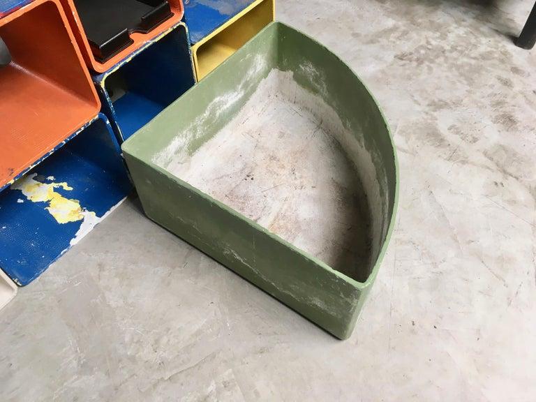 Swiss Massive Green Triangular Willy Guhl Corner Planter For Sale