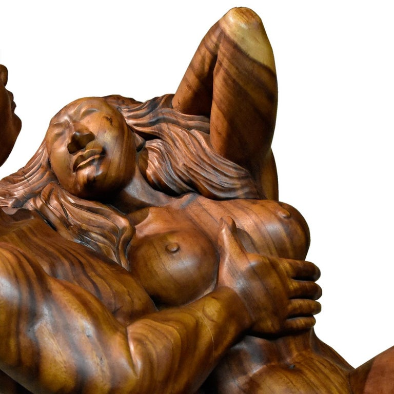 Massive Hand Carved Monkey Pod Exotic Hardwood Lovers Embrace Coffee Table For Sale 3