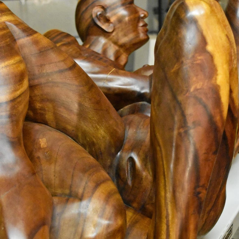 Massive Hand Carved Monkey Pod Exotic Hardwood Lovers Embrace Coffee Table For Sale 5