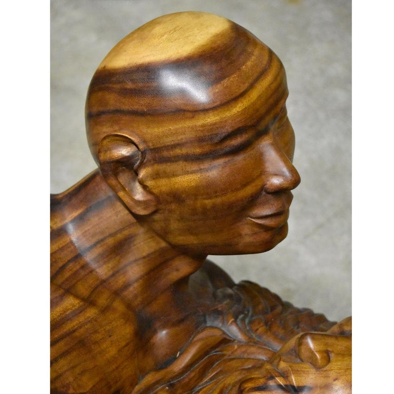 Massive Hand Carved Monkey Pod Exotic Hardwood Lovers Embrace Coffee Table For Sale 6