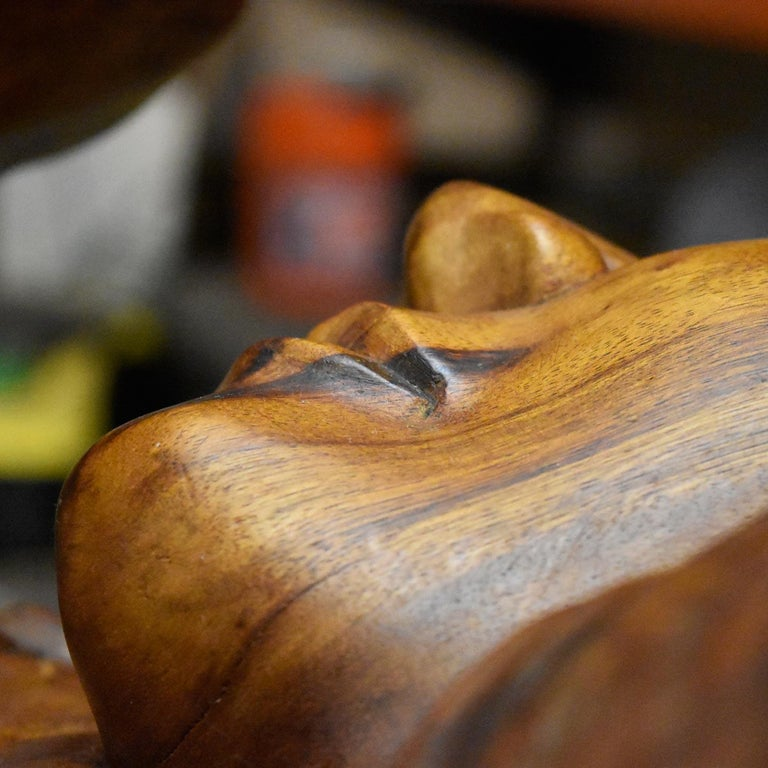 Massive Hand Carved Monkey Pod Exotic Hardwood Lovers Embrace Coffee Table For Sale 7