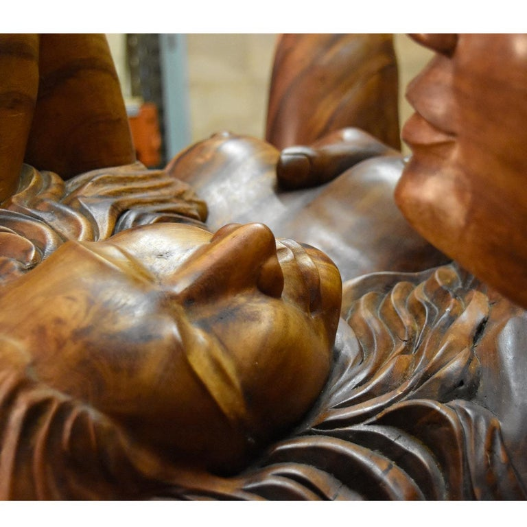 Massive Hand Carved Monkey Pod Exotic Hardwood Lovers Embrace Coffee Table For Sale 10