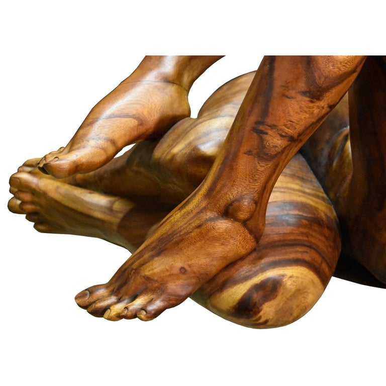 20th Century Massive Hand Carved Monkey Pod Exotic Hardwood Lovers Embrace Coffee Table For Sale