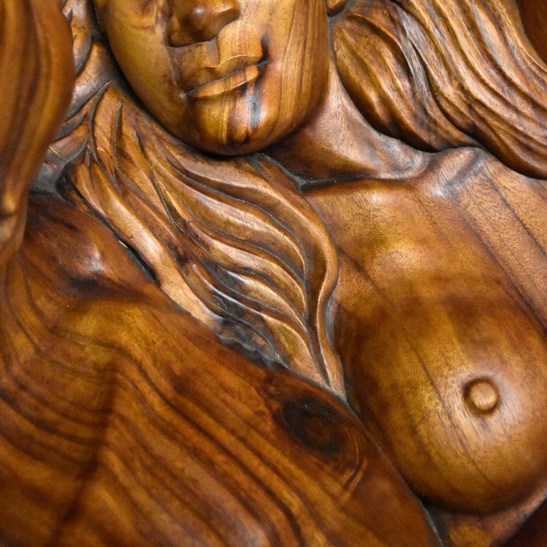 Glass Massive Hand Carved Monkey Pod Exotic Hardwood Lovers Embrace Coffee Table For Sale