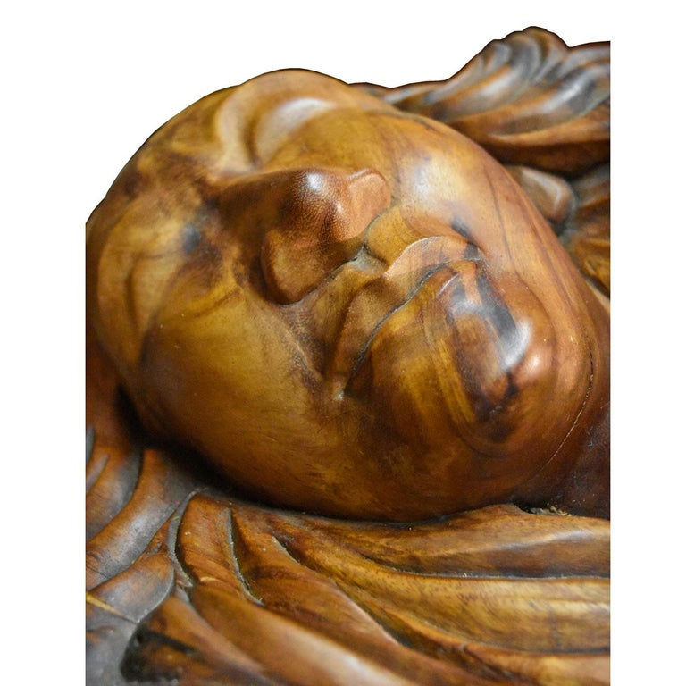 Massive Hand Carved Monkey Pod Exotic Hardwood Lovers Embrace Coffee Table For Sale 2