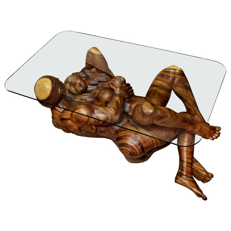 Massive Hand Carved Monkey Pod Exotic Hardwood Lovers Embrace Coffee Table For Sale