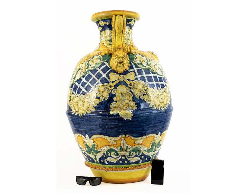 Fired Massive Hand Painted Italian Vase/Urn  For Sale