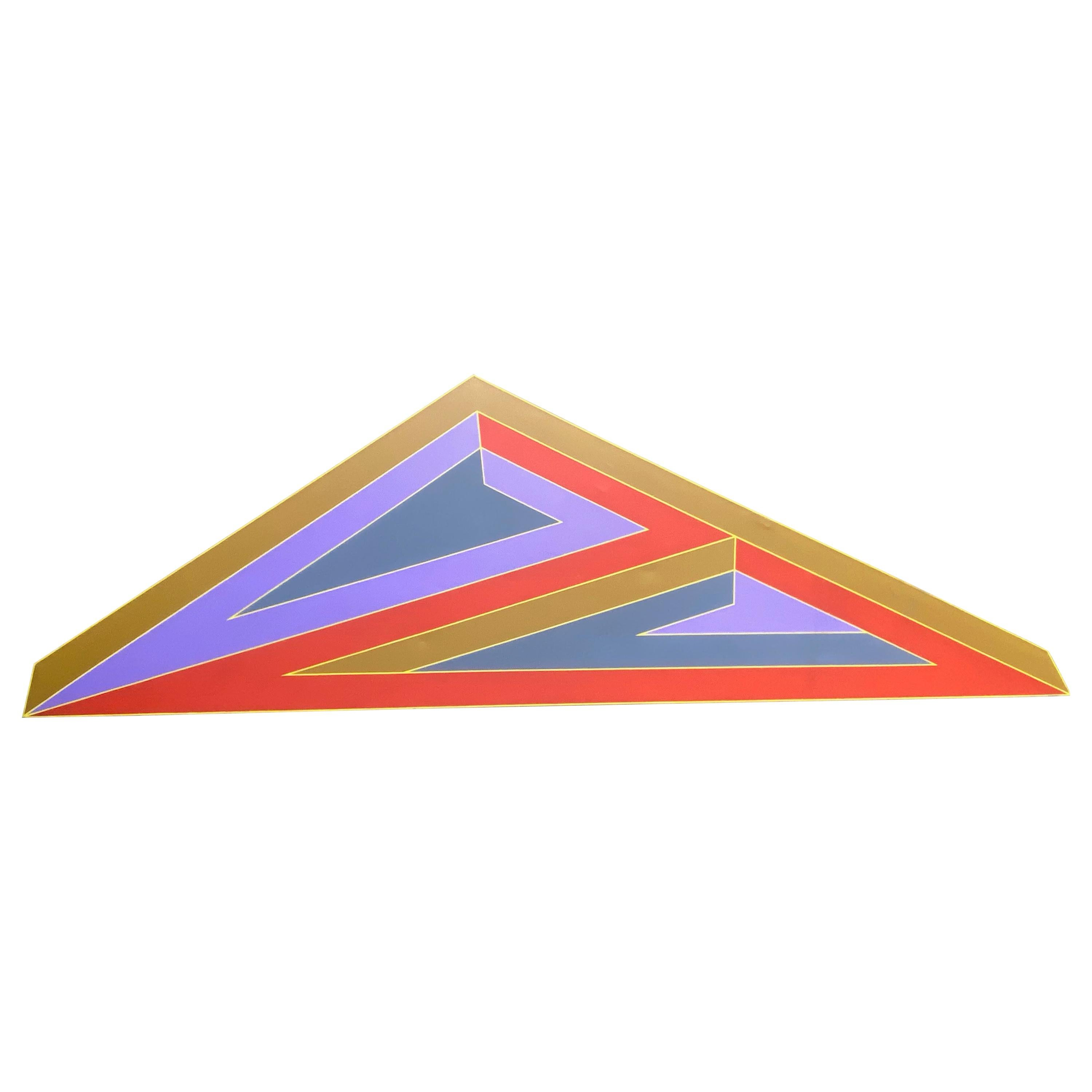 Massive 1970 Hard Edge Abstract Shaped Canvas Manner of Frank Stella
