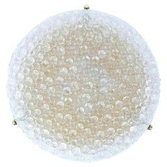 Massive Hillebrand Textured Murano Bubble Glass Flush Mount, 1960s, Germany