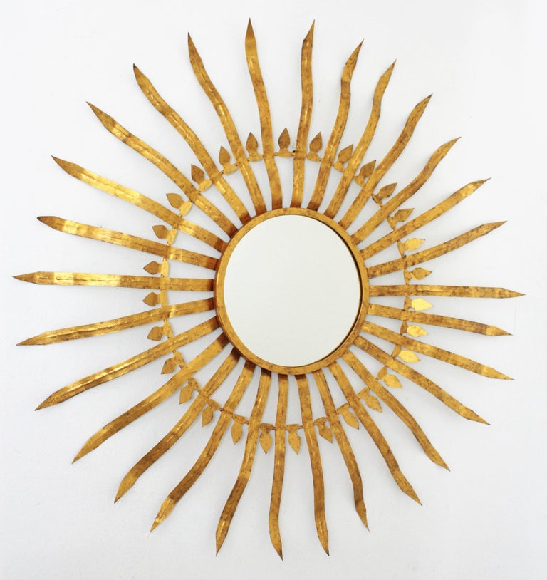 Massive Hollywood Regency Gilt Wrought Iron Convex Sunburst Mirror, Spain 1950s For Sale 4