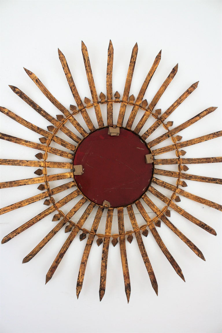 Massive Hollywood Regency Gilt Wrought Iron Convex Sunburst Mirror, Spain 1950s For Sale 5