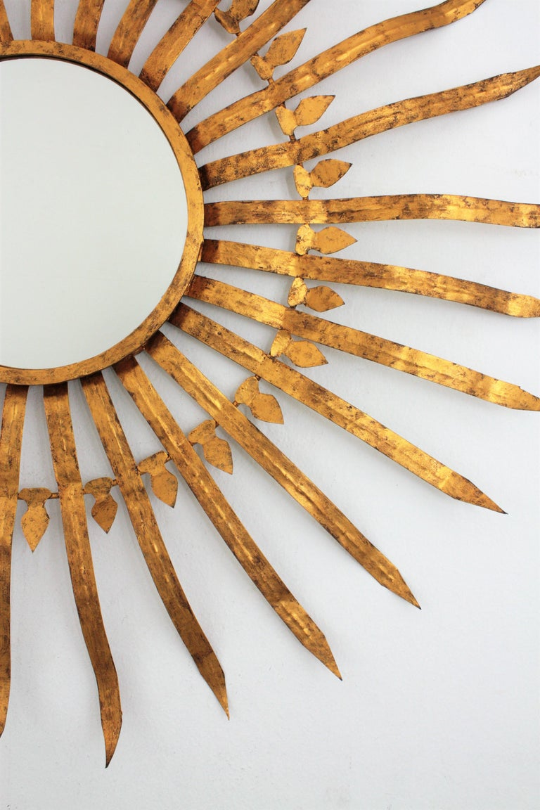 Massive Hollywood Regency Gilt Wrought Iron Convex Sunburst Mirror, Spain 1950s For Sale 2
