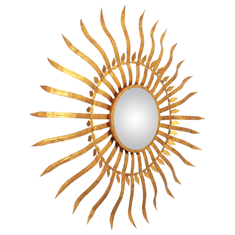 Massive Hollywood Regency Gilt Wrought Iron Convex Sunburst Mirror, Spain 1950s