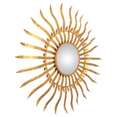 Massive Hollywood Regency Gilt Wrought Iron Convex Sunburst Mirror, Spain 1950s