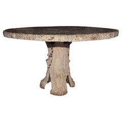Massive Intricately-Sculpted Faux Bois Table