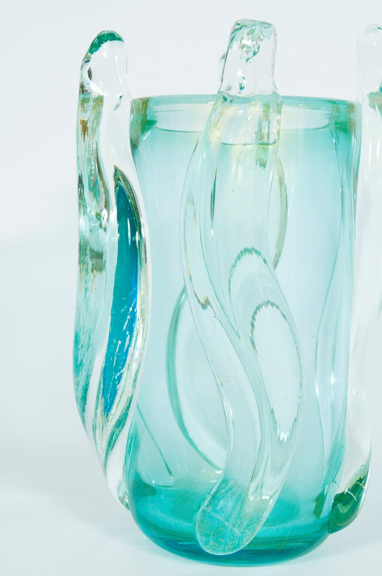 Hand-Crafted Massive Italian Curved Vase in Blown Murano Glass Ice Color, 1990s For Sale