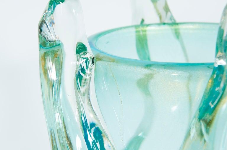 Massive Italian Curved Vase in Blown Murano Glass Ice Color, 1990s In Excellent Condition For Sale In Villaverla, IT