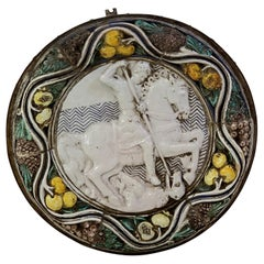 """Massive Italian Della Robbia Style Plaque """"St. George"""" with Iron Mounting Frame"""