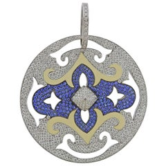 Massive Italian Diamond Sapphire Enamel Gold Pendant
