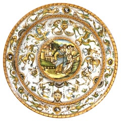 Massive Italian Majolica Allegorical Charger by A. Deruta