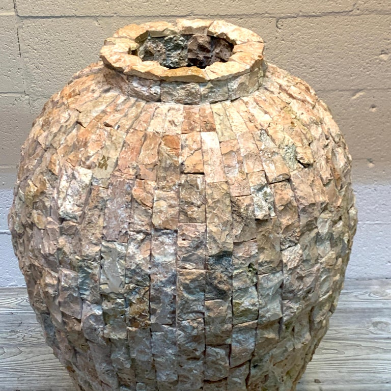 Massive Italian Midcentury 'Coral Stone' Mosaic Floor Vase In Good Condition For Sale In West Palm Beach, FL