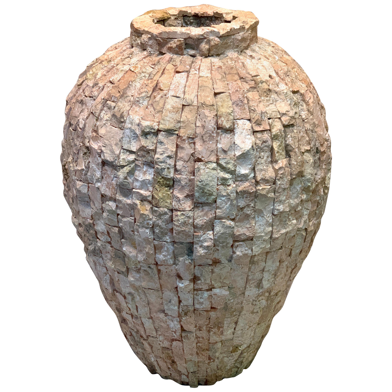 Massive Italian Midcentury 'Coral Stone' Mosaic Floor Vase