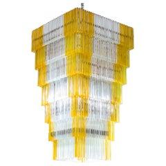 Massive Italian Venini Chandelier in Blown Murano Glass Transparent Amber, 1960s