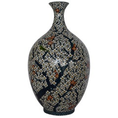 Japanese Gilded Blue White  Porcelain Vase by Master Artist