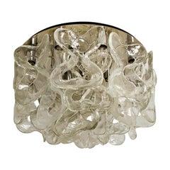 """Massive J.T. Kalmar """"Catena"""" Murano Glass Chrome Flushmount Chandelier, 1970s"""