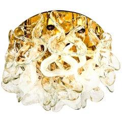 "Massive J.T. Kalmar ""Catena"" Murano Glass Flushmount Chandelier, 1970s"