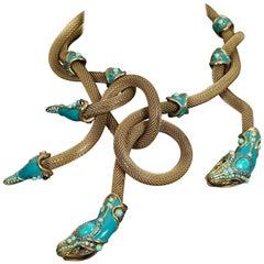 Massive LANVIN Spring 2010 Enamel Snake Coiled Medusa Necklace