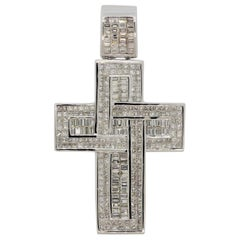 Massive Large Diamond Gold Cross Pendant