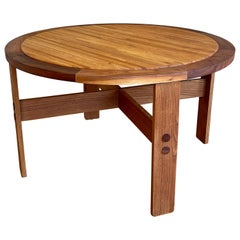 Massive Large Rare Dining Table by Lou Hodges California Design Walnut and Oak