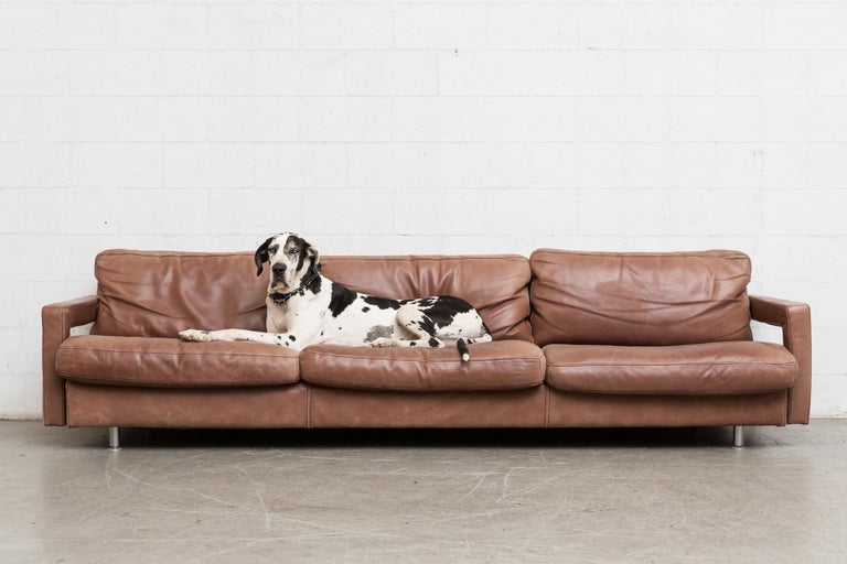 Massive Leather Sofa By Molinari At 1stdibs