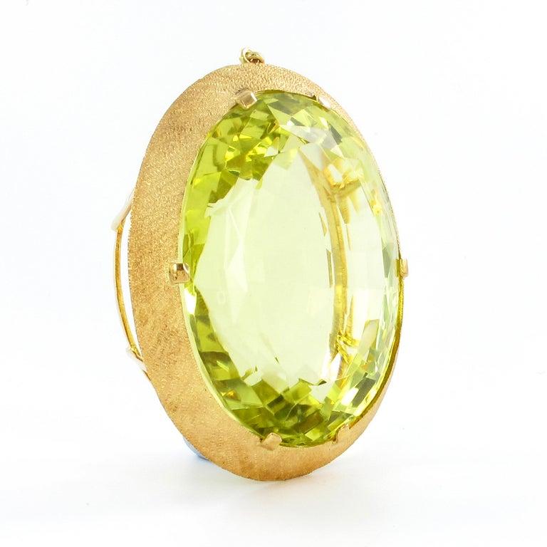 Women's or Men's Massive Lemonquarz Pendant Necklace in Yellow Gold 750 For Sale