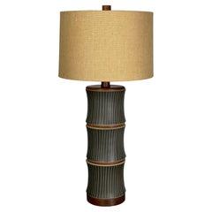 "Massive Martz Table Lamp ""Bamboo"" Form Black Sgraffito Ceramic and Walnut"