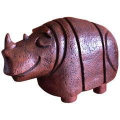 Massive Midcentury Chalkware Rhino Bank