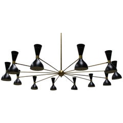 Massive Midcentury Design Italian Chandelier, 1950s Stilnovo Black Gold