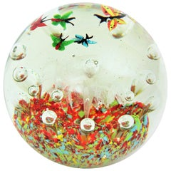 Massive Murano Butterflies Multi-Color Glass Paperweight with Air Bubbles, 1950s